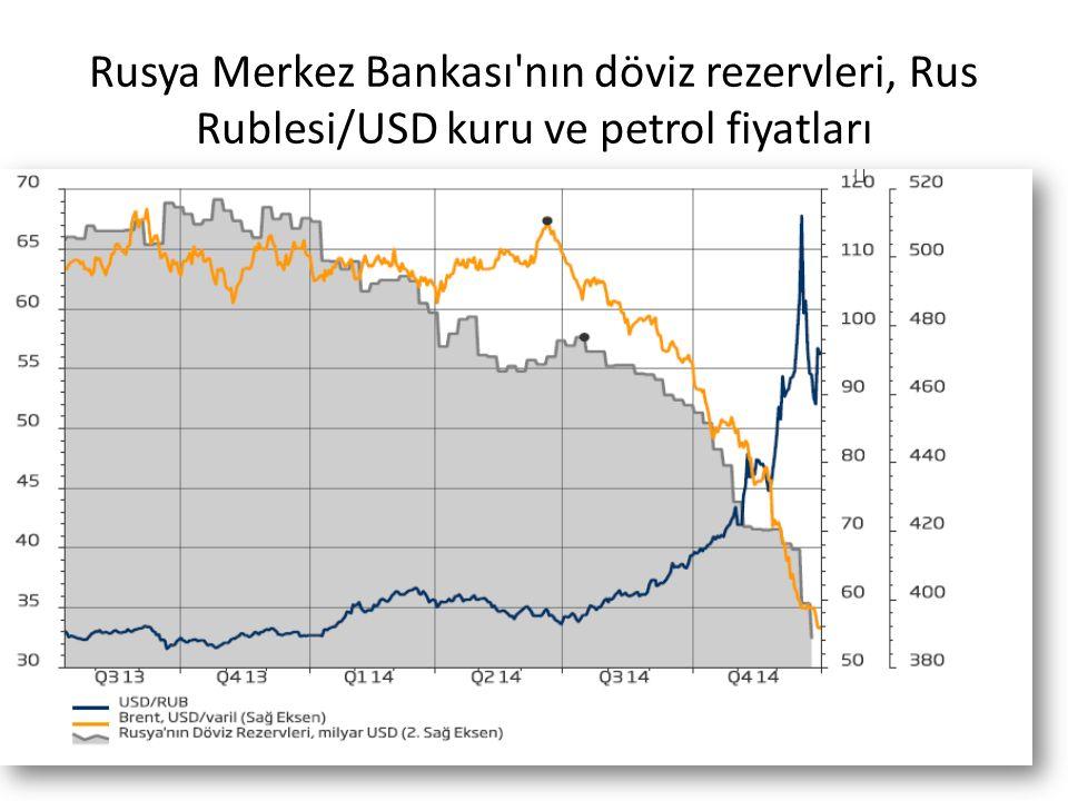 Rusya Merkez Bankası nın döviz rezervleri, Rus Rublesi/USD kuru ve petrol fiyatları