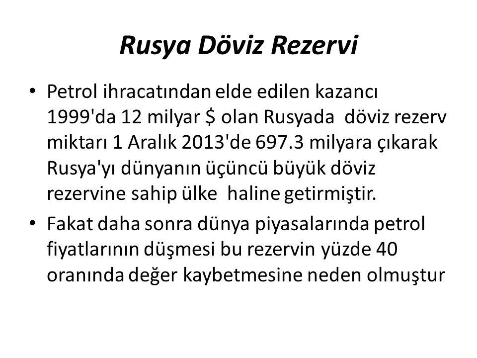 Rusya Döviz Rezervi Petrol ihracatından elde edilen kazancı 1999 da 12 milyar $ olan Rusyada döviz rezerv miktarı 1 Aralık 2013 de 697.3 milyara çıkarak Rusya yı dünyanın üçüncü büyük döviz rezervine sahip ülke haline getirmiştir.
