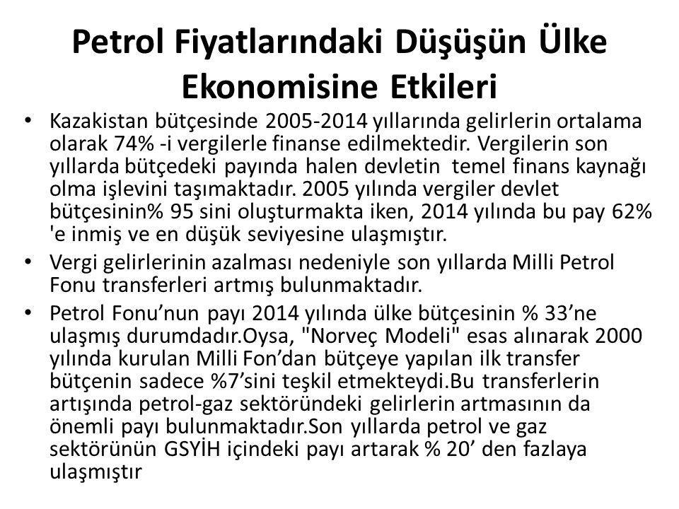Petrol Fiyatlarındaki Düşüşün Ülke Ekonomisine Etkileri Kazakistan bütçesinde 2005-2014 yıllarında gelirlerin ortalama olarak 74% -i vergilerle finanse edilmektedir.