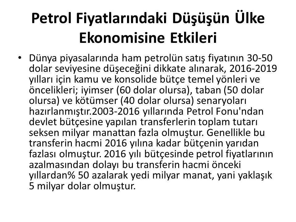 Petrol Fiyatlarındaki Düşüşün Ülke Ekonomisine Etkileri Dünya piyasalarında ham petrolün satış fiyatının 30-50 dolar seviyesine düşeceğini dikkate alınarak, 2016-2019 yılları için kamu ve konsolide bütçe temel yönleri ve öncelikleri; iyimser (60 dolar olursa), taban (50 dolar olursa) ve kötümser (40 dolar olursa) senaryoları hazırlanmıştır.2003-2016 yıllarında Petrol Fonu ndan devlet bütçesine yapılan transferlerin toplam tutarı seksen milyar manattan fazla olmuştur.
