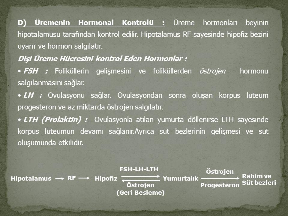 D) Üremenin Hormonal Kontrolü : Üreme hormonları beyinin hipotalamusu tarafından kontrol edilir. Hipotalamus RF sayesinde hipofiz bezini uyarır ve hor