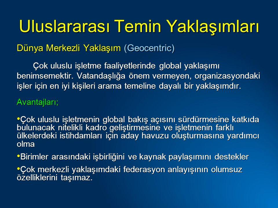 Uluslararası Temin Yaklaşımları Dünya Merkezli Yaklaşım (Geocentric) Çok uluslu işletme faaliyetlerinde global yaklaşımı benimsemektir.