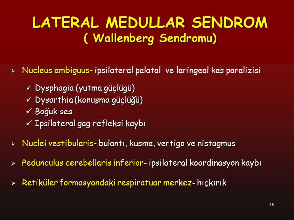 38  Nucleus ambiguus-  Nucleus ambiguus- ipsilateral palatal ve laringeal kas paralizisi Dysphagia (yutma güçlügü) Dysphagia (yutma güçlügü) Dysarth