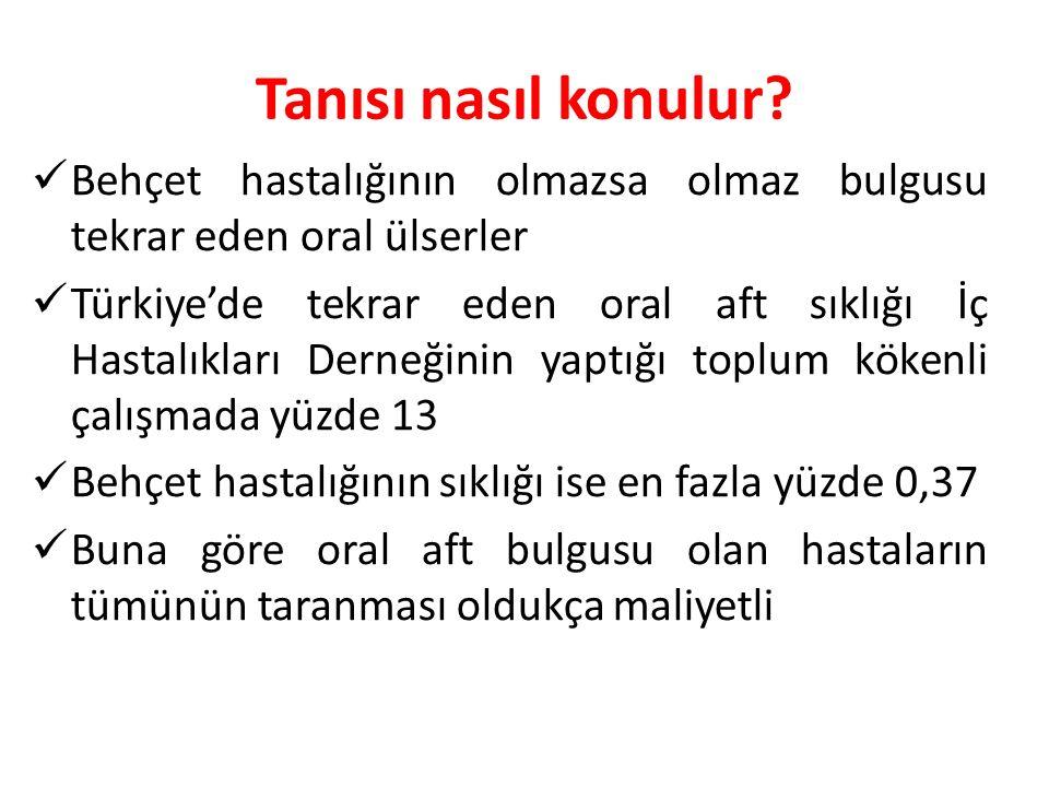 Tanısı nasıl konulur? Behçet hastalığının olmazsa olmaz bulgusu tekrar eden oral ülserler Türkiye'de tekrar eden oral aft sıklığı İç Hastalıkları Dern
