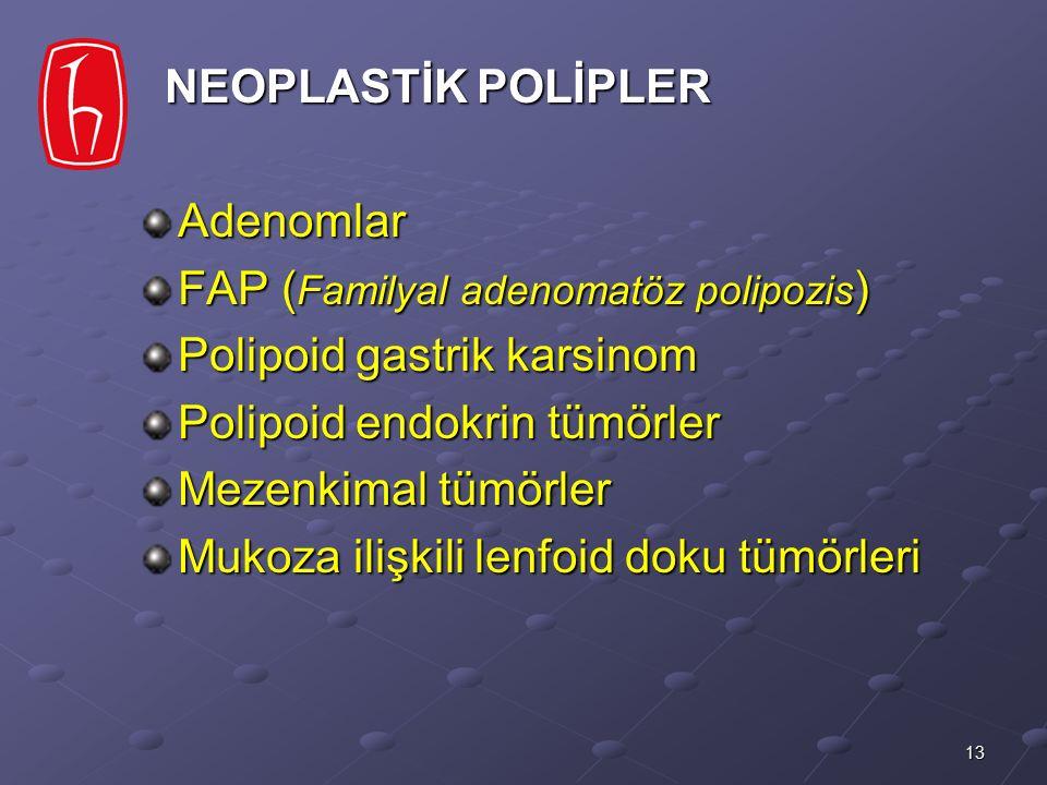 13 NEOPLASTİK POLİPLER NEOPLASTİK POLİPLERAdenomlar FAP ( Familyal adenomatöz polipozis ) Polipoid gastrik karsinom Polipoid endokrin tümörler Mezenki