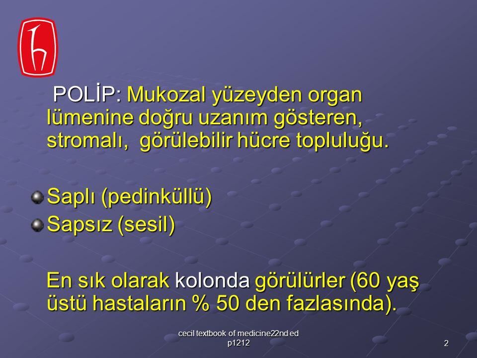 2 cecil textbook of medicine22nd ed p1212 POLİP: Mukozal yüzeyden organ lümenine doğru uzanım gösteren, stromalı, görülebilir hücre topluluğu. POLİP: