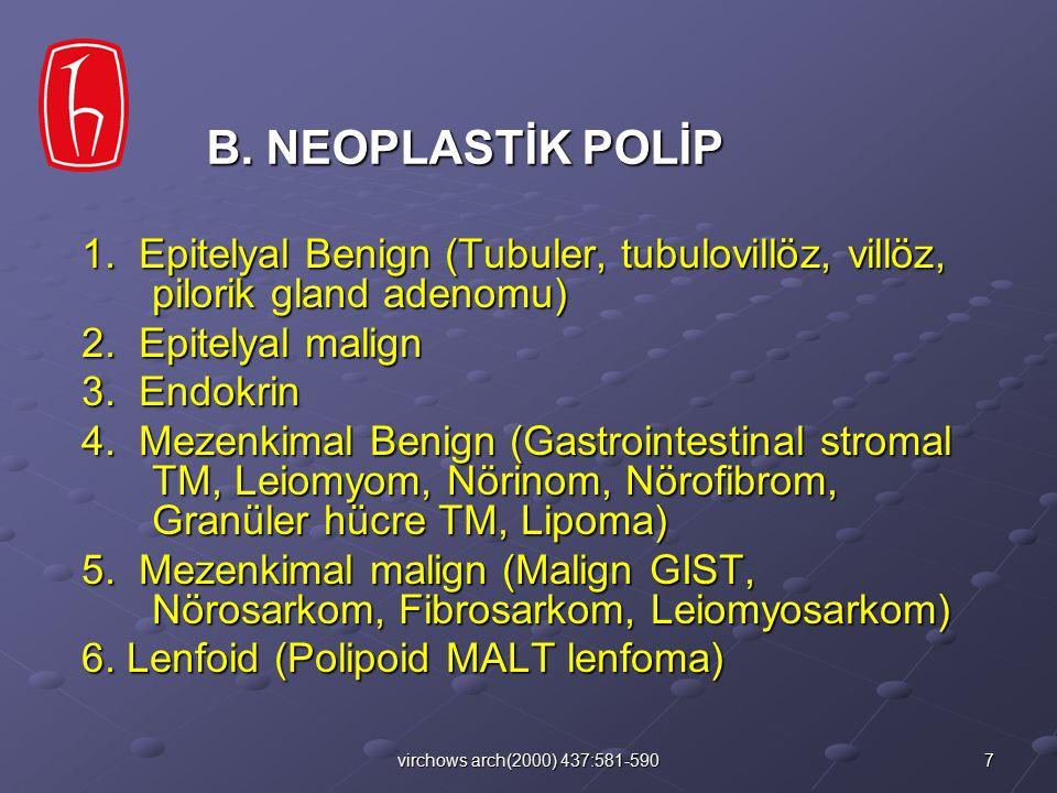 8virchows arch(2000) 437:581-590 1- Foveolar Hiperplazi 2- Lenfoid Folliküller 3- Gastritis varioliformis 4- Gastritis sistika profunda C.