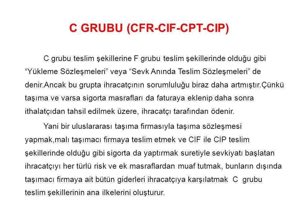 """C GRUBU (CFR-CIF-CPT-CIP) C grubu teslim şekillerine F grubu teslim şekillerinde olduğu gibi """"Yükleme Sözleşmeleri"""" veya """"Sevk Anında Teslim Sözleşmel"""