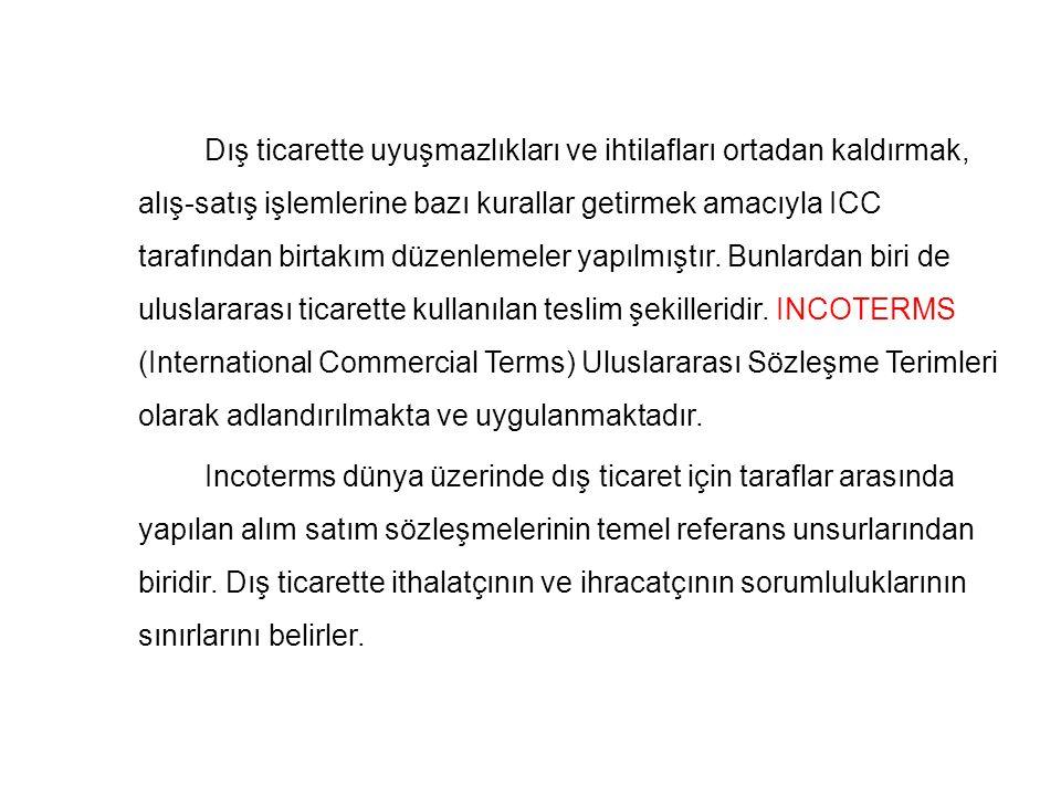 Incoterms 2000 Özellikleri **ICC – Milletlerarası Ticaret Odası tarafından düzenli olarak gözden geçirilir ve yayınlanırlar.