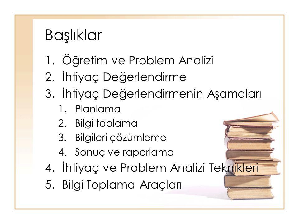 Başlıklar 1.Öğretim ve Problem Analizi 2.İhtiyaç Değerlendirme 3.İhtiyaç Değerlendirmenin Aşamaları 1.Planlama 2.Bilgi toplama 3.Bilgileri çözümleme 4.Sonuç ve raporlama 4.İhtiyaç ve Problem Analizi Teknikleri 5.Bilgi Toplama Araçları