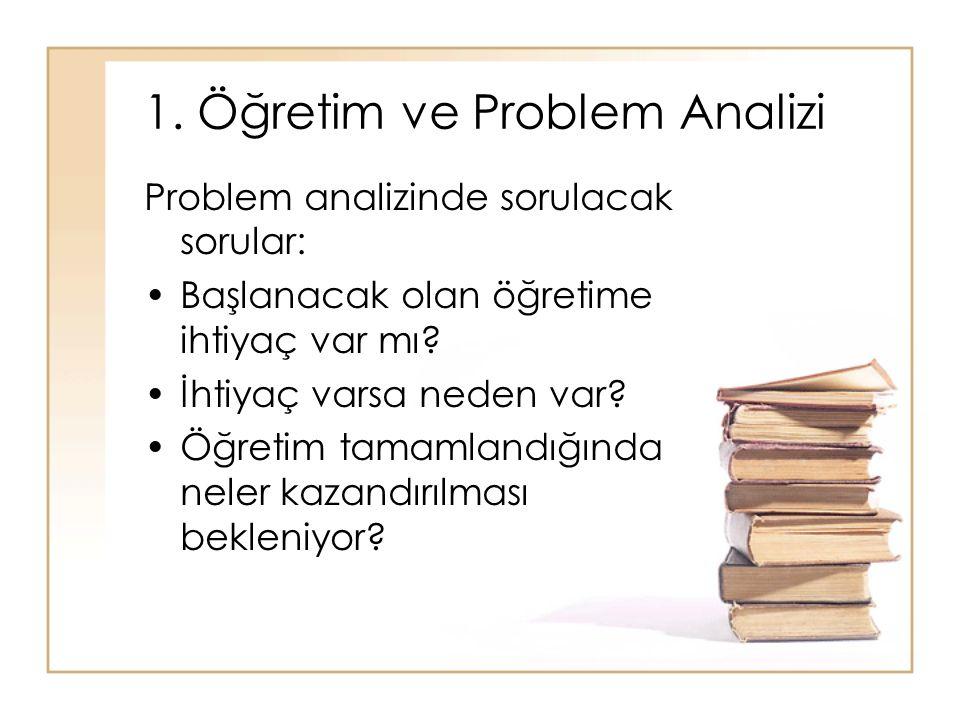1. Öğretim ve Problem Analizi Problem analizinde sorulacak sorular: Başlanacak olan öğretime ihtiyaç var mı? İhtiyaç varsa neden var? Öğretim tamamlan