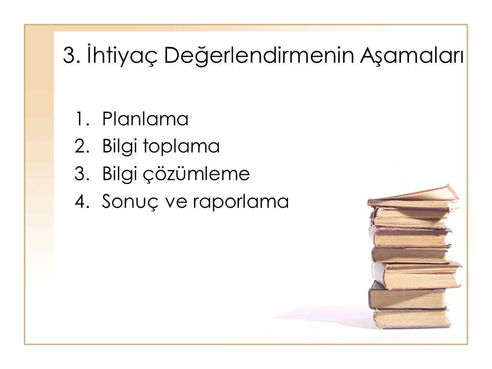 3. İhtiyaç Değerlendirmenin Aşamaları 1.Planlama 2.Bilgi toplama 3.Bilgi çözümleme 4.Sonuç ve raporlama
