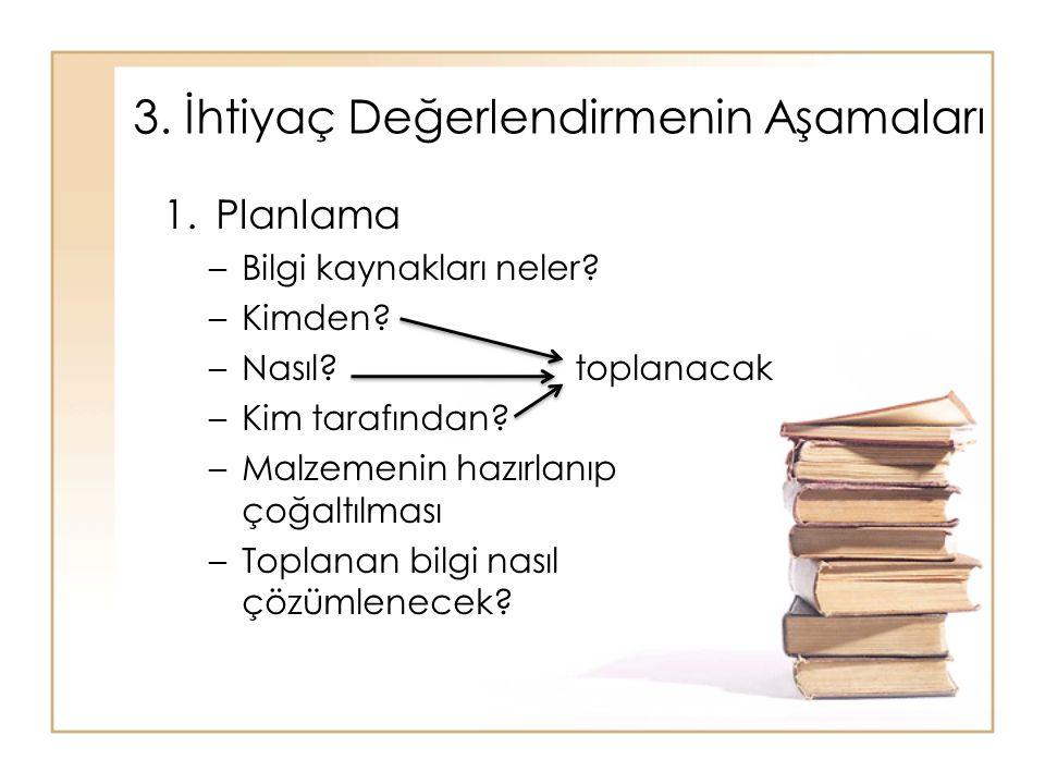 1.Planlama –Bilgi kaynakları neler? –Kimden? –Nasıl?toplanacak –Kim tarafından? –Malzemenin hazırlanıp çoğaltılması –Toplanan bilgi nasıl çözümlenecek