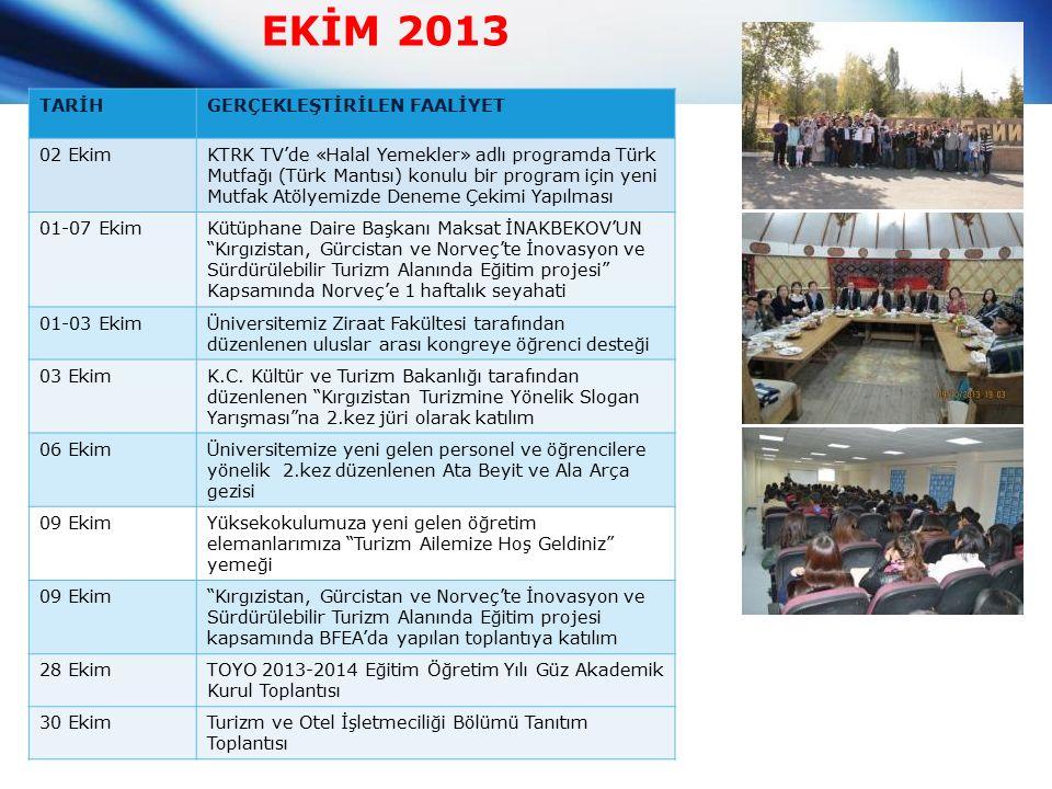 EKİM 2013 TARİHGERÇEKLEŞTİRİLEN FAALİYET 02 EkimKTRK TV'de «Halal Yemekler» adlı programda Türk Mutfağı (Türk Mantısı) konulu bir program için yeni Mutfak Atölyemizde Deneme Çekimi Yapılması 01-07 EkimKütüphane Daire Başkanı Maksat İNAKBEKOV'UN Kırgızistan, Gürcistan ve Norveç'te İnovasyon ve Sürdürülebilir Turizm Alanında Eğitim projesi Kapsamında Norveç'e 1 haftalık seyahati 01-03 EkimÜniversitemiz Ziraat Fakültesi tarafından düzenlenen uluslar arası kongreye öğrenci desteği 03 EkimK.C.