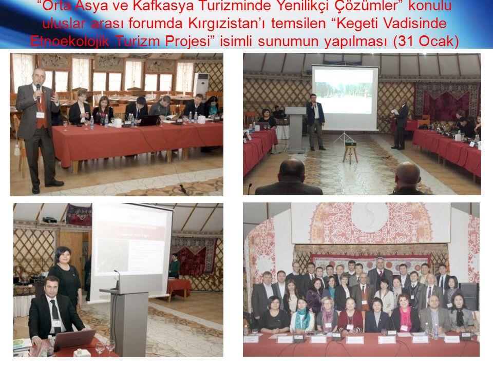 Orta Asya ve Kafkasya Turizminde Yenilikçi Çözümler konulu uluslar arası forumda Kırgızistan'ı temsilen Kegeti Vadisinde Etnoekolojik Turizm Projesi isimli sunumun yapılması (31 Ocak)