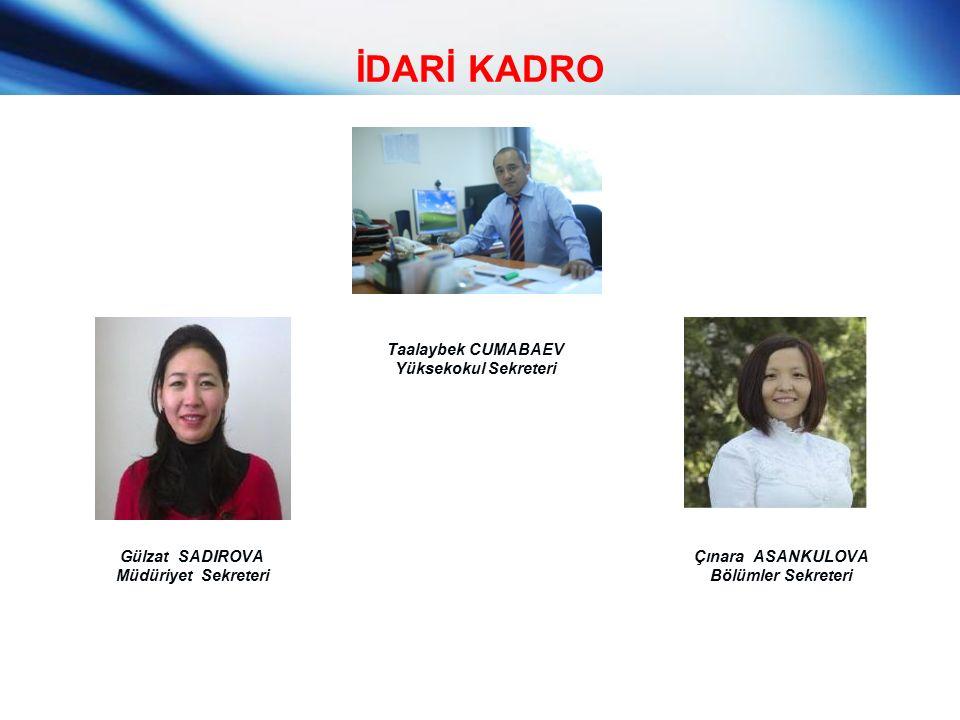 İDARİ KADRO Taalaybek CUMABAEV Yüksekokul Sekreteri Çınara ASANKULOVA Bölümler Sekreteri Gülzat SADIROVA Müdüriyet Sekreteri