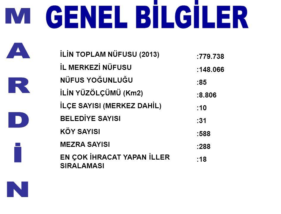 İLİN TOPLAM NÜFUSU (2013) İL MERKEZİ NÜFUSU NÜFUS YOĞUNLUĞU İLİN YÜZÖLÇÜMÜ (Km2) İLÇE SAYISI (MERKEZ DAHİL) BELEDİYE SAYISI KÖY SAYISI MEZRA SAYISI EN ÇOK İHRACAT YAPAN İLLER SIRALAMASI :779.738 :148.066 :85 :8.806 :10 :31 :588 :288 :18