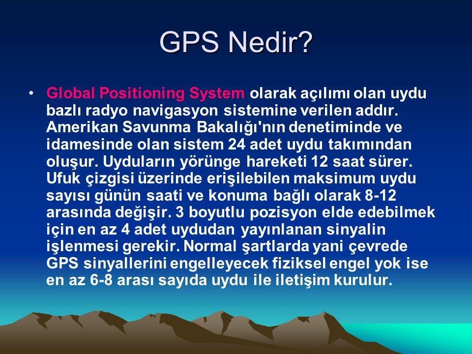 GPS Nedir? Global Positioning System olarak açılımı olan uydu bazlı radyo navigasyon sistemine verilen addır. Amerikan Savunma Bakalığı'nın denetimind