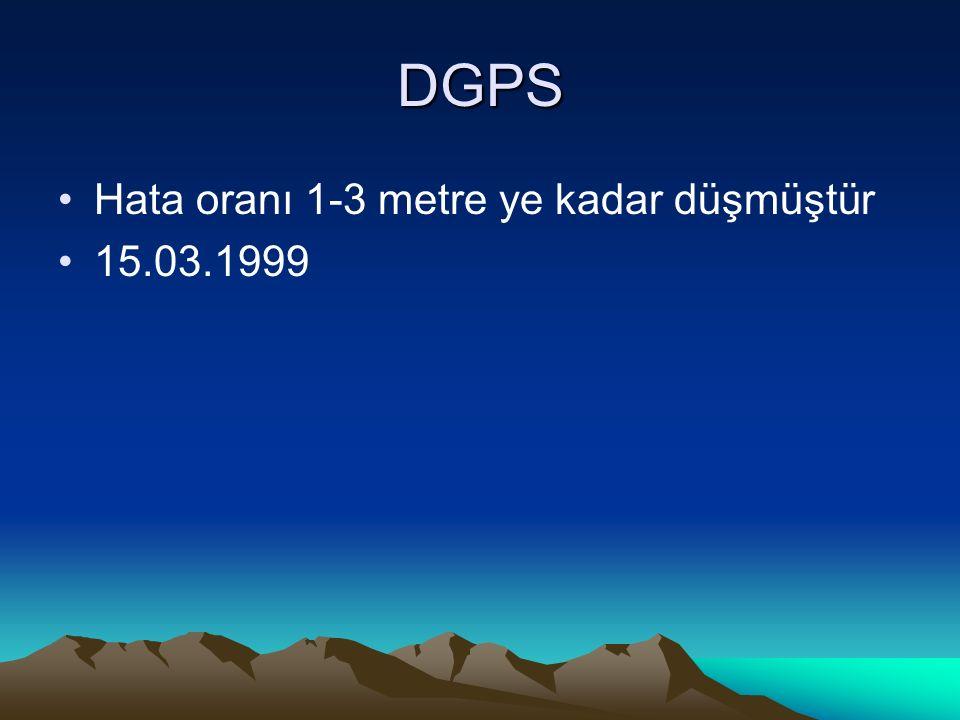 DGPS Hata oranı 1-3 metre ye kadar düşmüştür 15.03.1999
