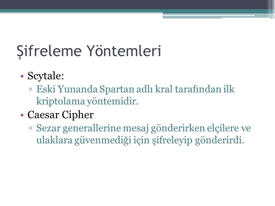 Şifreleme Yöntemleri Scytale: ▫Eski Yunanda Spartan adlı kral tarafından ilk kriptolama yöntemidir.