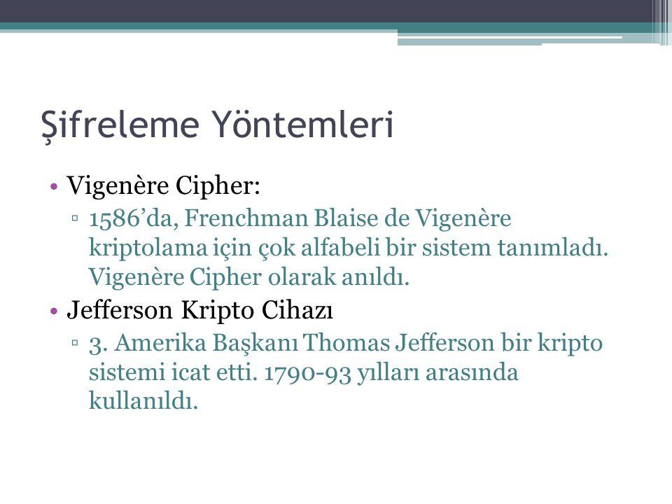 Şifreleme Yöntemleri Vigenère Cipher: ▫1586'da, Frenchman Blaise de Vigenère kriptolama için çok alfabeli bir sistem tanımladı.