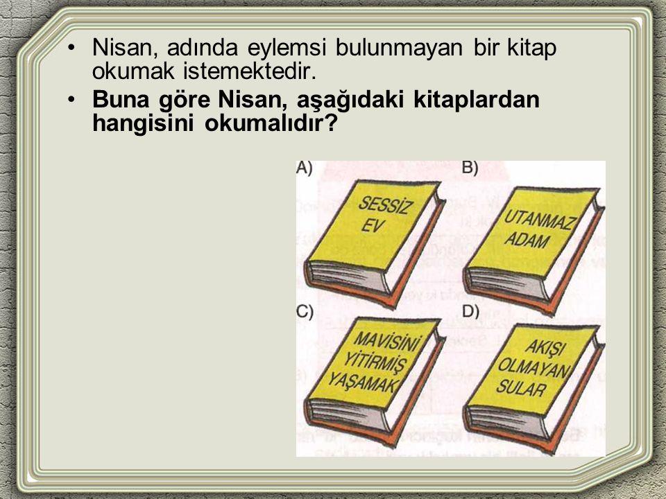 Nisan, adında eylemsi bulunmayan bir kitap okumak istemektedir.