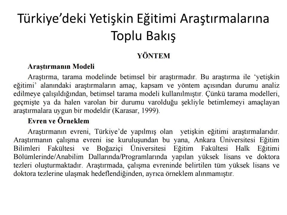 Türkiye'deki Yetişkin Eğitimi Araştırmalarına Toplu Bakış