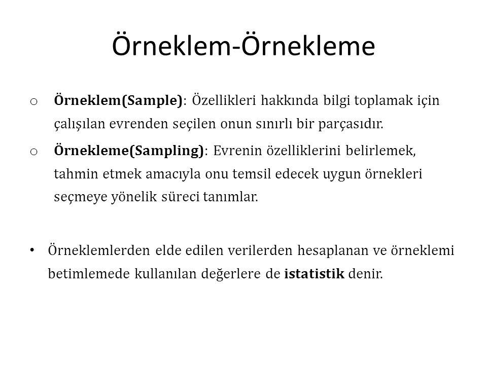 Örneklem-Örnekleme o Örneklem(Sample): Özellikleri hakkında bilgi toplamak için çalışılan evrenden seçilen onun sınırlı bir parçasıdır. o Örnekleme(Sa