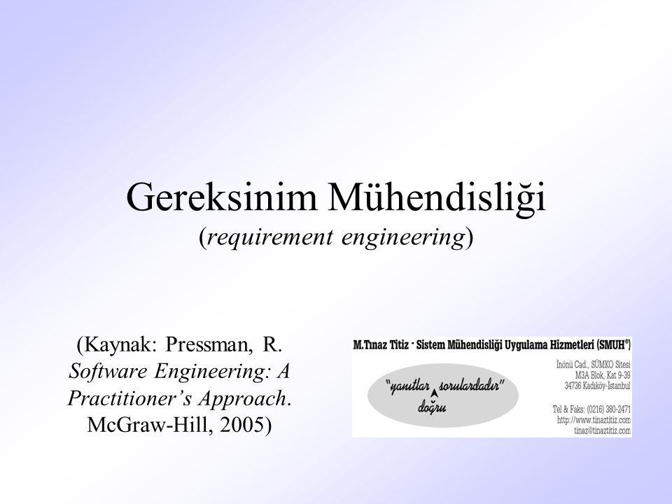 Gereksinim Mühendisliği (requirement engineering) (Kaynak: Pressman, R.