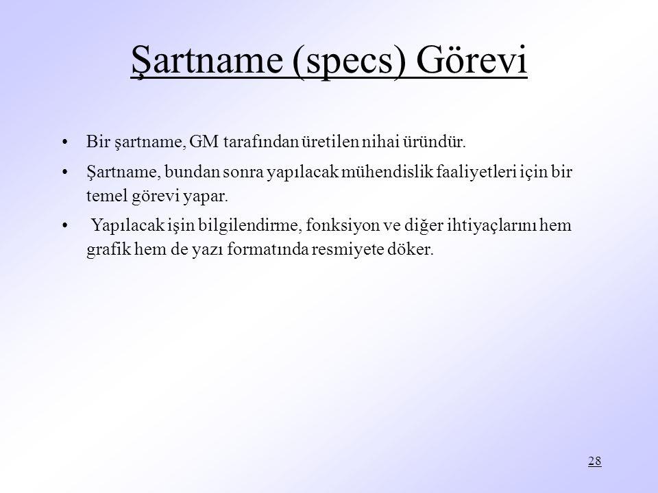 28 Şartname (specs) Görevi Bir şartname, GM tarafından üretilen nihai üründür. Şartname, bundan sonra yapılacak mühendislik faaliyetleri için bir teme