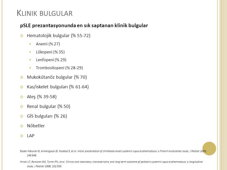 K LINIK BULGULAR pSLE prezantasyonunda en sık saptanan klinik bulgular Hematolojik bulgular (% 55-72) Anemi (% 27) Lökopeni (% 35) Lenfopeni (% 29) Trombositopeni (% 28-29) Mukokütanöz bulgular (% 70) Kas/iskelet bulguları (% 61-64) Ateş (% 39-58) Renal bulgular (% 50) GİS bulguları (% 26) Nöbetler LAP Bader-Meunier B, Armengaud JB, Haddad E, et al.