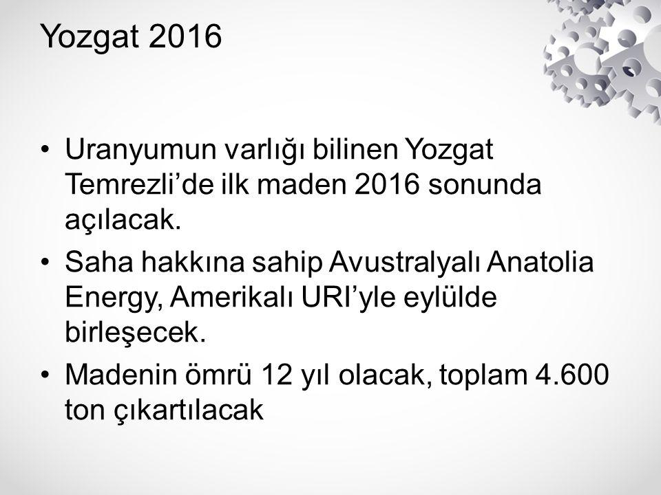 Yozgat 2016 Uranyumun varlığı bilinen Yozgat Temrezli'de ilk maden 2016 sonunda açılacak. Saha hakkına sahip Avustralyalı Anatolia Energy, Amerikalı U