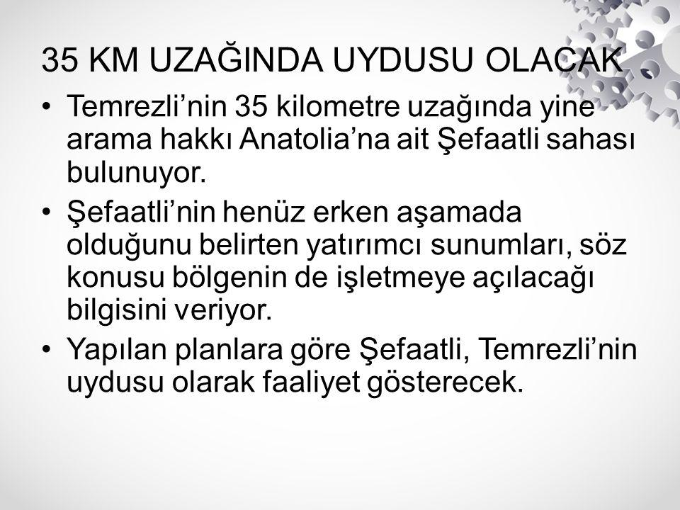 35 KM UZAĞINDA UYDUSU OLACAK Temrezli'nin 35 kilometre uzağında yine arama hakkı Anatolia'na ait Şefaatli sahası bulunuyor. Şefaatli'nin henüz erken a