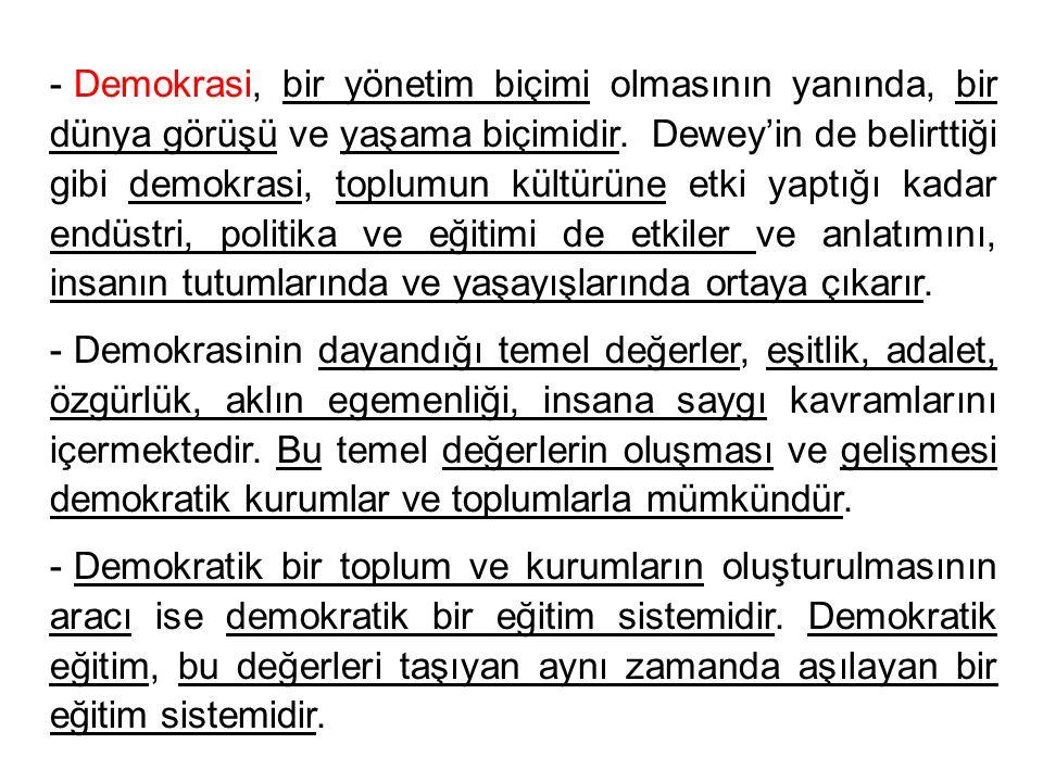 - Demokrasi, bir yönetim biçimi olmasının yanında, bir dünya görüşü ve yaşama biçimidir. Dewey'in de belirttiği gibi demokrasi, toplumun kültürüne etk