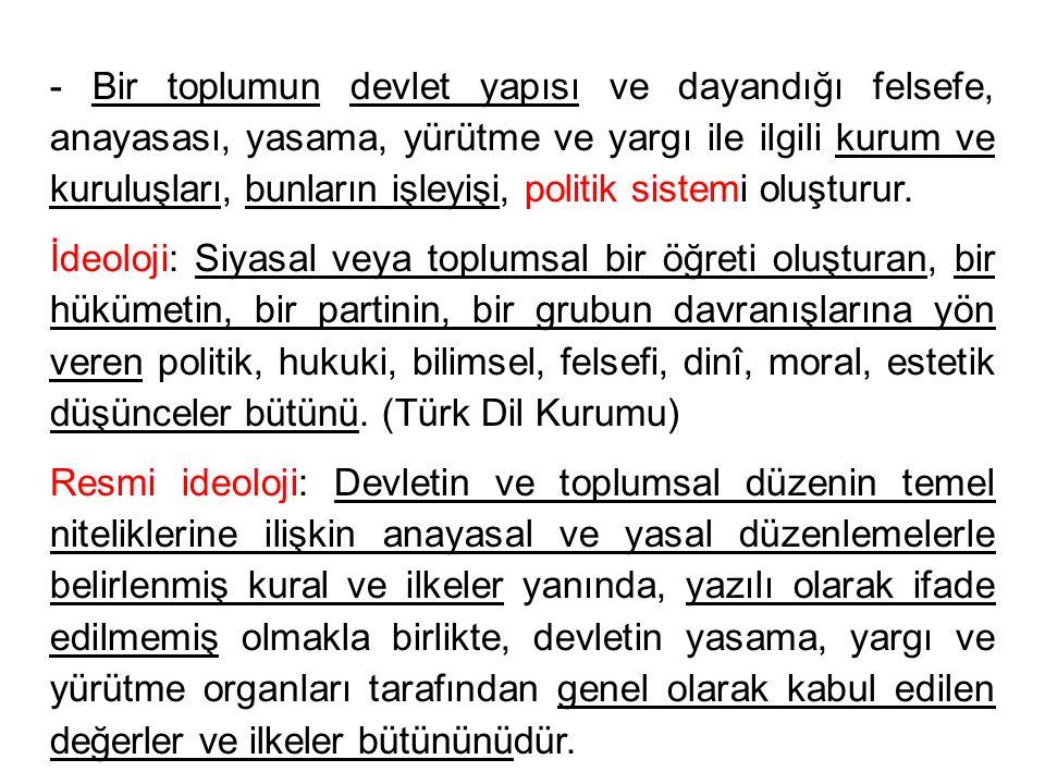 - Bir toplumun devlet yapısı ve dayandığı felsefe, anayasası, yasama, yürütme ve yargı ile ilgili kurum ve kuruluşları, bunların işleyişi, politik sis