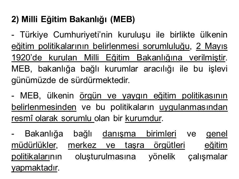 2) Milli Eğitim Bakanlığı (MEB) - Türkiye Cumhuriyeti'nin kuruluşu ile birlikte ülkenin eğitim politikalarının belirlenmesi sorumluluğu, 2 Mayıs 1920'de kurulan Milli Eğitim Bakanlığına verilmiştir.