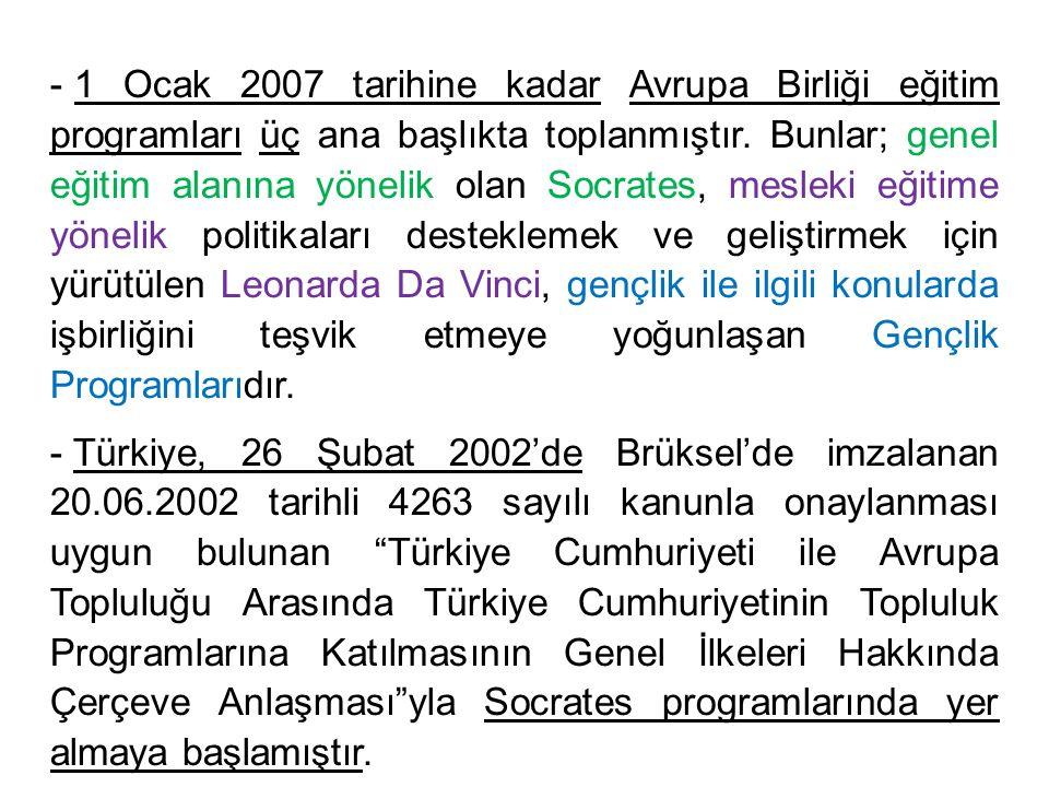 - 1 Ocak 2007 tarihine kadar Avrupa Birliği eğitim programları üç ana başlıkta toplanmıştır. Bunlar; genel eğitim alanına yönelik olan Socrates, mesle