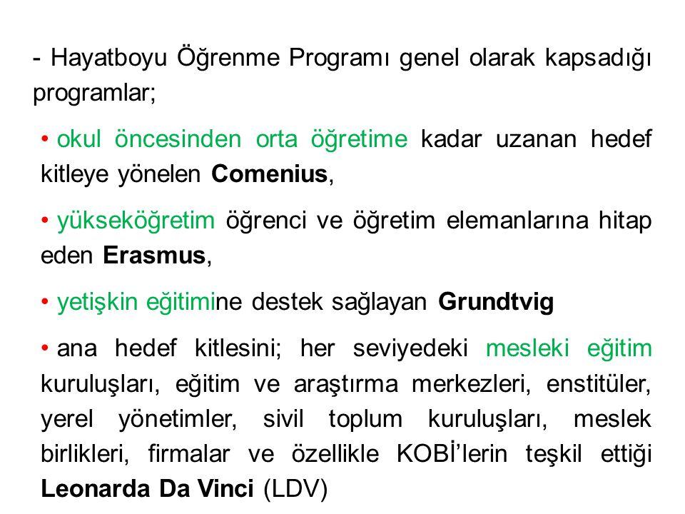 - Hayatboyu Öğrenme Programı genel olarak kapsadığı programlar; okul öncesinden orta öğretime kadar uzanan hedef kitleye yönelen Comenius, yükseköğret