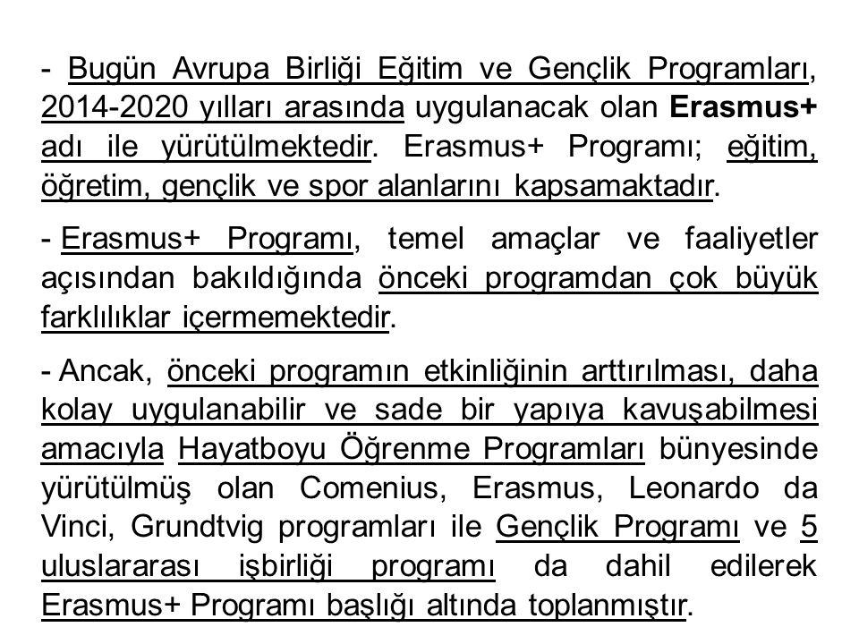 - Bugün Avrupa Birliği Eğitim ve Gençlik Programları, 2014-2020 yılları arasında uygulanacak olan Erasmus+ adı ile yürütülmektedir. Erasmus+ Programı;