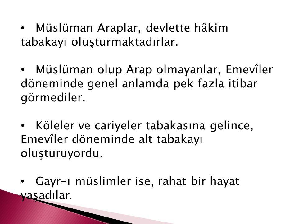 İslam, Arap-mevâlî gibi bir ayrımı kabul etmezken, Emevîler döneminde mevâlînin bazı haklardan Araplar kadar faydalanmadığı görülmektedir.
