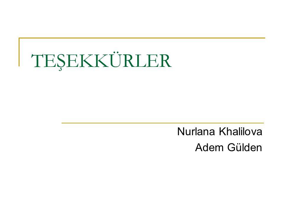 TEŞEKKÜRLER Nurlana Khalilova Adem Gülden