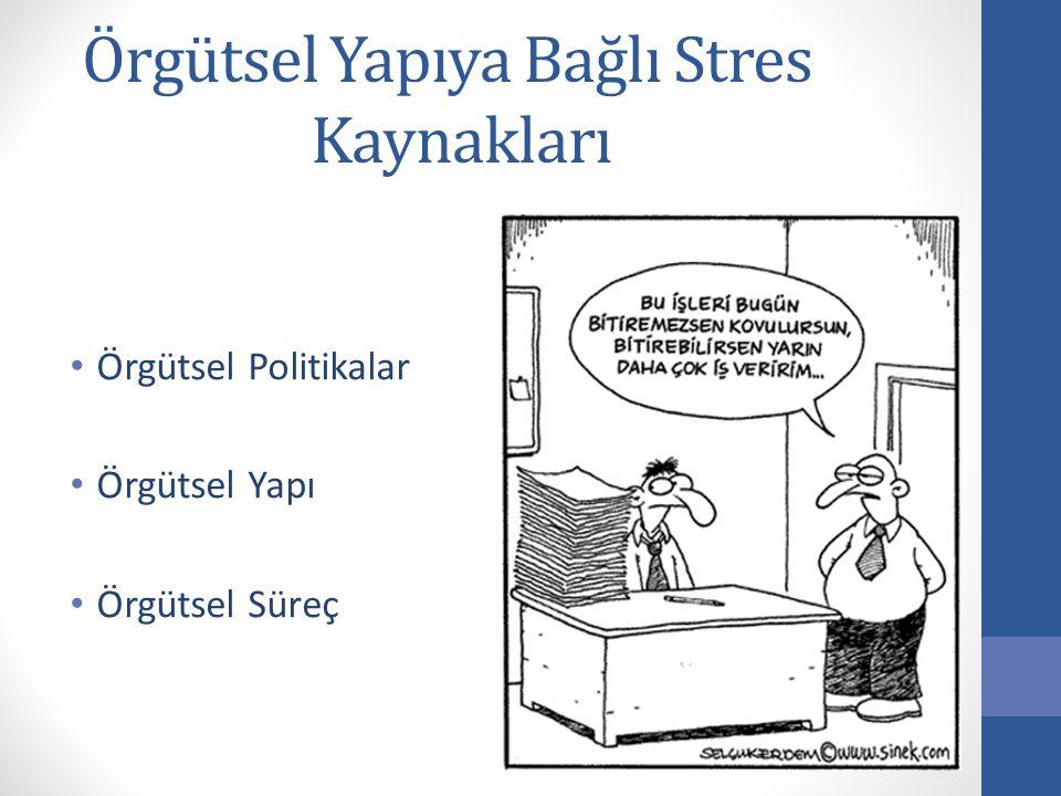 Örgütsel Yapıya Bağlı Stres Kaynakları Örgütsel Politikalar Örgütsel Yapı Örgütsel Süreç