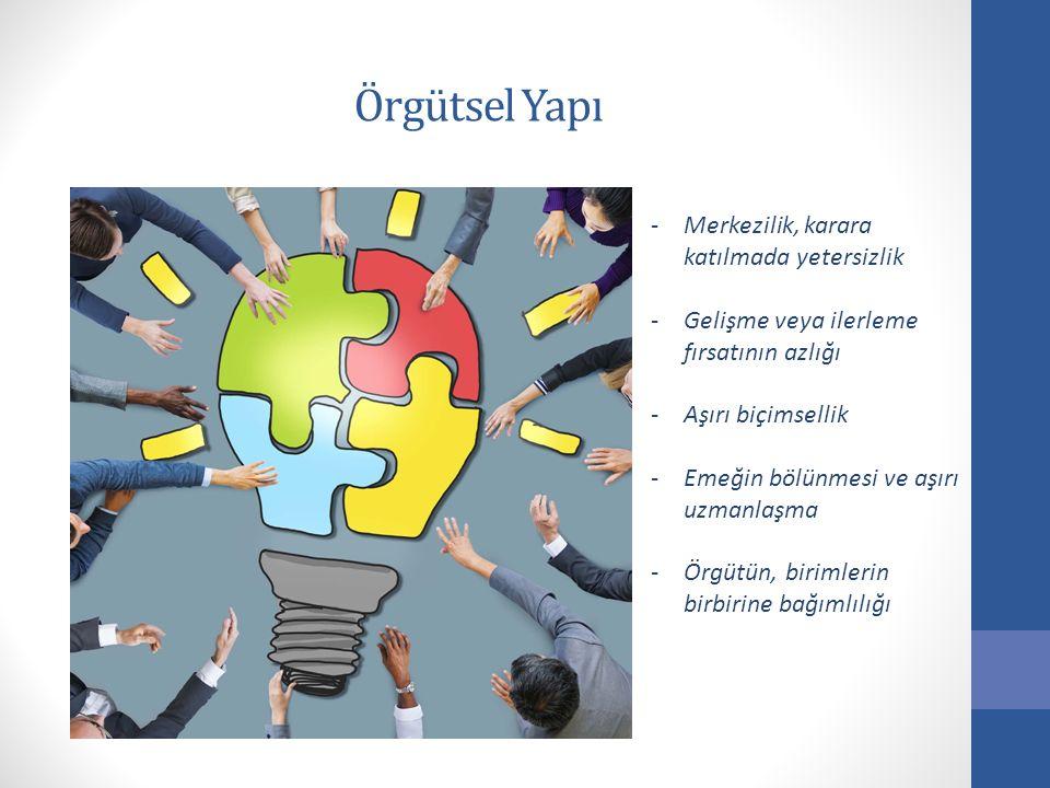 Örgütsel Yapı -Merkezilik, karara katılmada yetersizlik -Gelişme veya ilerleme fırsatının azlığı -Aşırı biçimsellik -Emeğin bölünmesi ve aşırı uzmanla