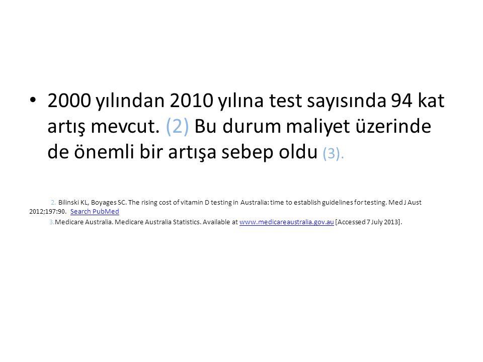 2000 yılından 2010 yılına test sayısında 94 kat artış mevcut.