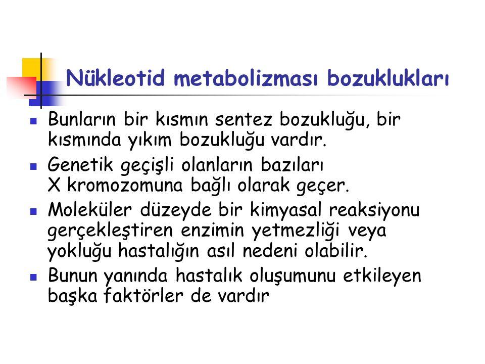 Nükleotid metabolizması bozuklukları Bunların bir kısmın sentez bozukluğu, bir kısmında yıkım bozukluğu vardır. Genetik geçişli olanların bazıları X k