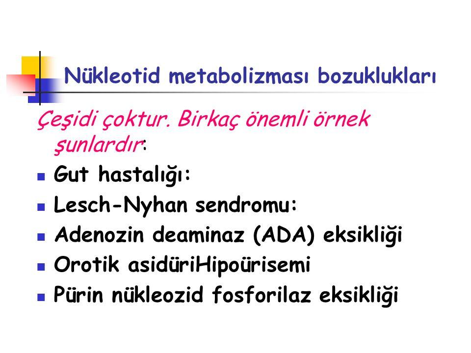Nükleotid metabolizması bozuklukları Çeşidi çoktur. Birkaç önemli örnek şunlardır: Gut hastalığı: Lesch-Nyhan sendromu: Adenozin deaminaz (ADA) eksikl