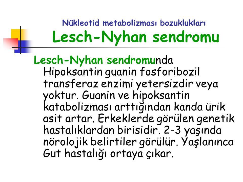 Nükleotid metabolizması bozuklukları Lesch-Nyhan sendromu Lesch-Nyhan sendromunda Hipoksantin guanin fosforibozil transferaz enzimi yetersizdir veya y