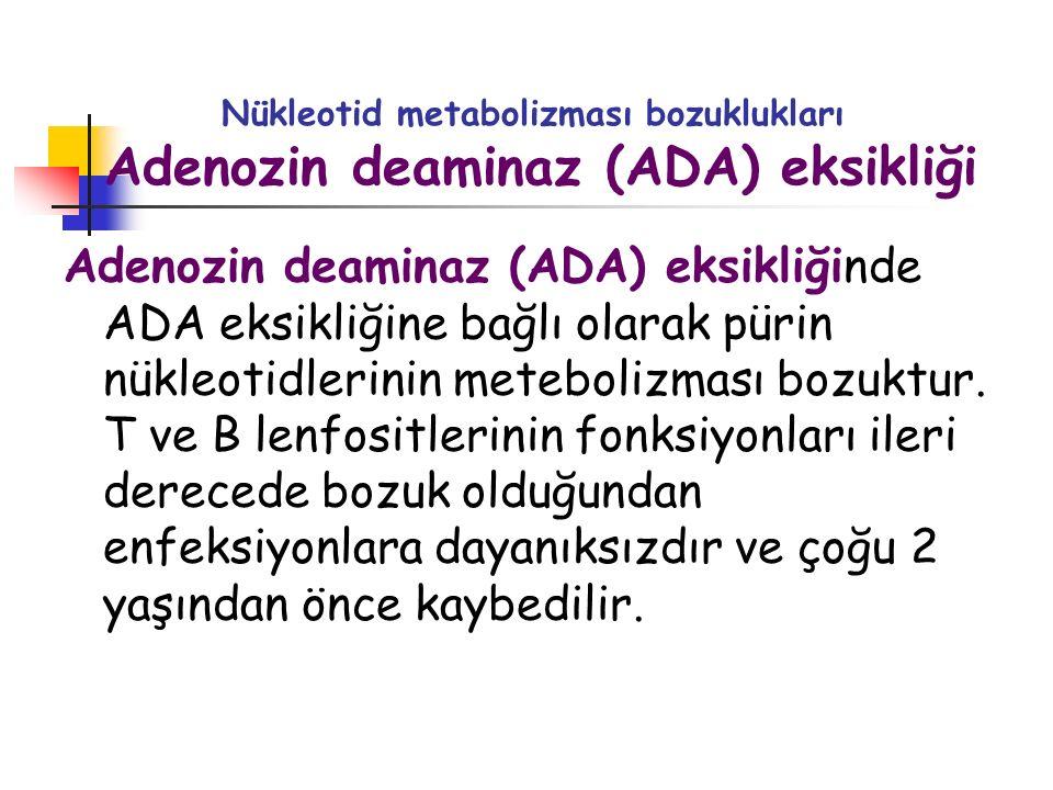 Nükleotid metabolizması bozuklukları Adenozin deaminaz (ADA) eksikliği Adenozin deaminaz (ADA) eksikliğinde ADA eksikliğine bağlı olarak pürin nükleot