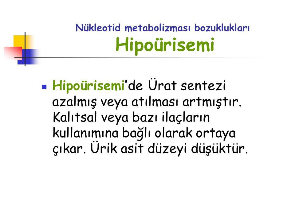 Nükleotid metabolizması bozuklukları Hipoürisemi Hipoürisemi'de Ürat sentezi azalmış veya atılması artmıştır. Kalıtsal veya bazı ilaçların kullanımına