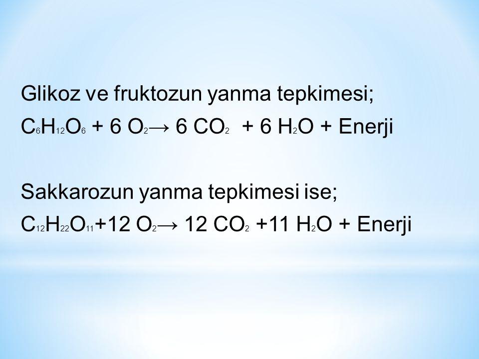 Glikoz ve fruktozun yanma tepkimesi; C 6 H 12 O 6 + 6 O 2 → 6 CO 2 + 6 H 2 O + Enerji Sakkarozun yanma tepkimesi ise; C 12 H 22 O 11 +12 O 2 → 12 CO 2